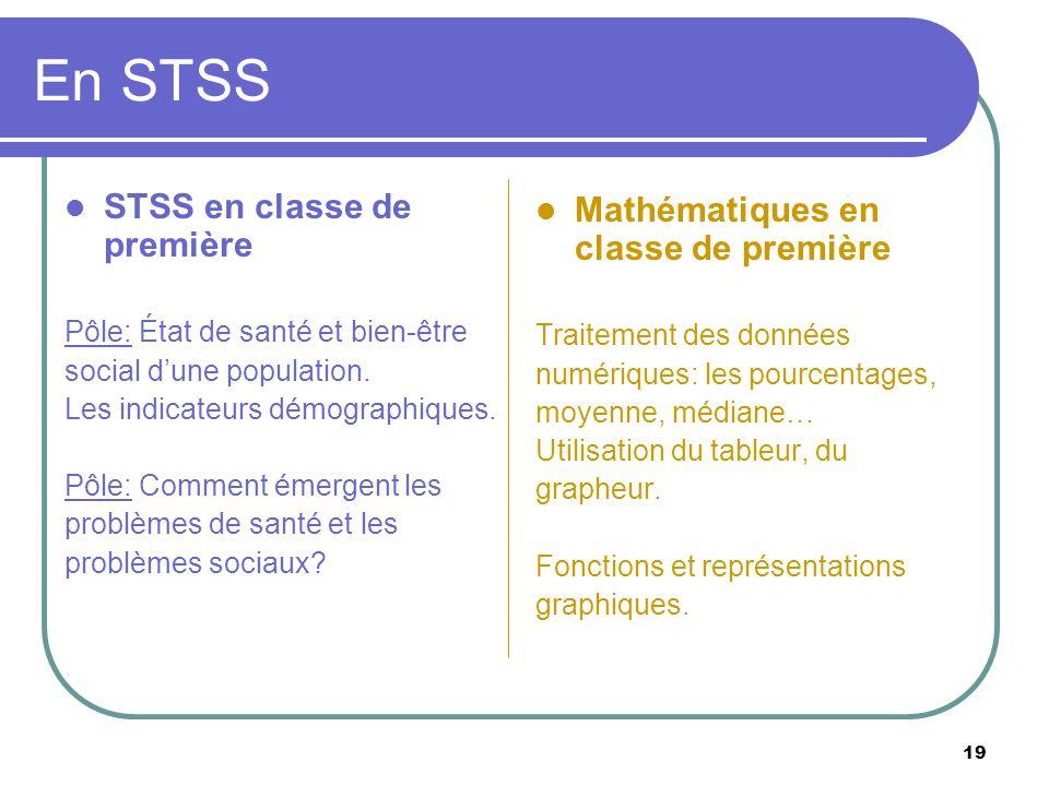 En STSS STSS en classe de première Mathématiques en classe de première