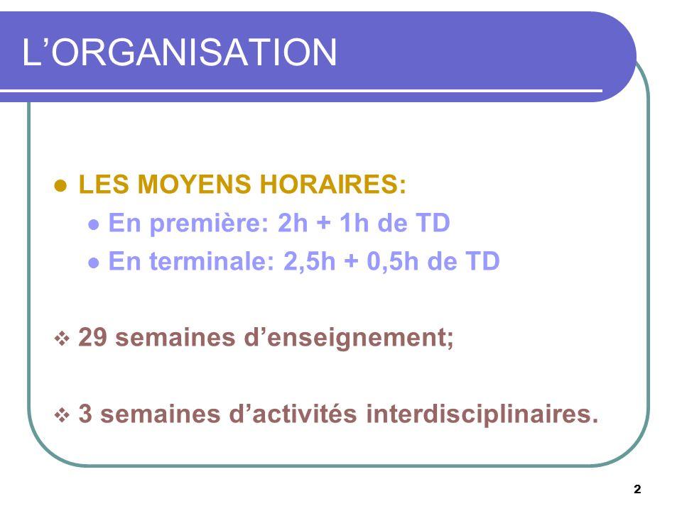 L'ORGANISATION LES MOYENS HORAIRES: En première: 2h + 1h de TD