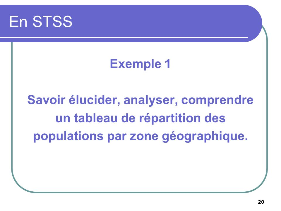 En STSS Exemple 1 Savoir élucider, analyser, comprendre