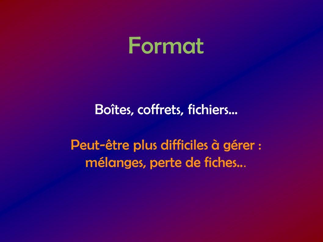 Format Boîtes, coffrets, fichiers...