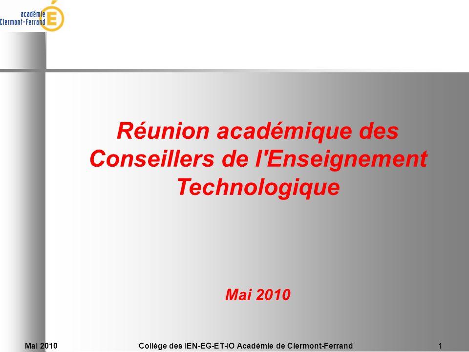 Réunion académique des Conseillers de l Enseignement Technologique