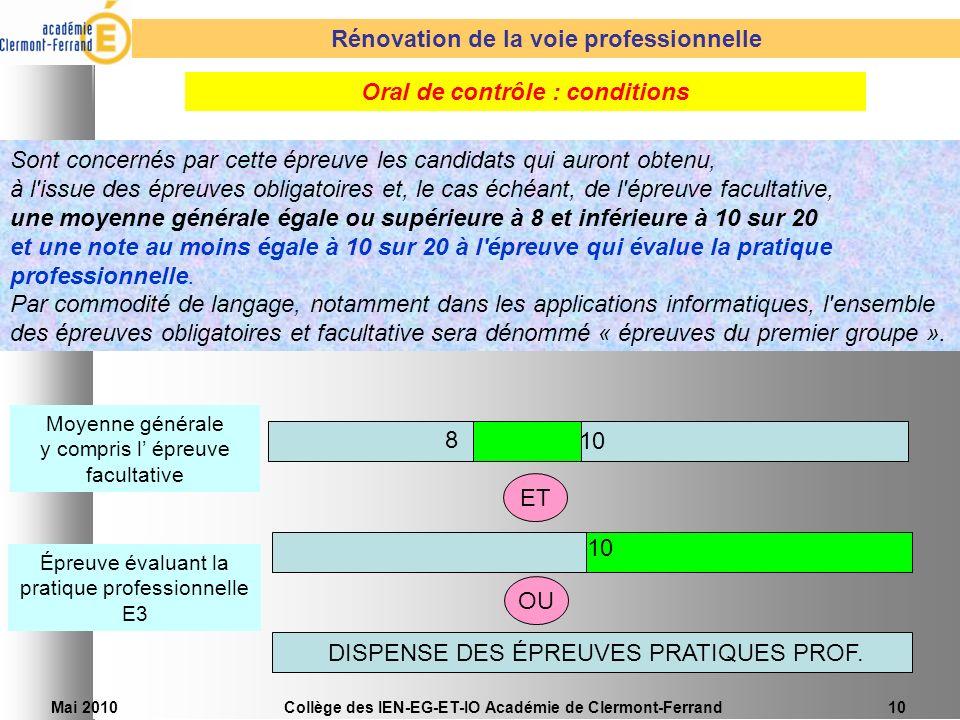 Rénovation de la voie professionnelle Oral de contrôle : conditions