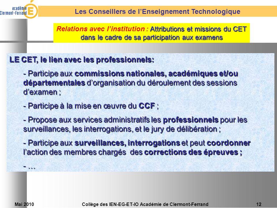 LE CET, le lien avec les professionnels: