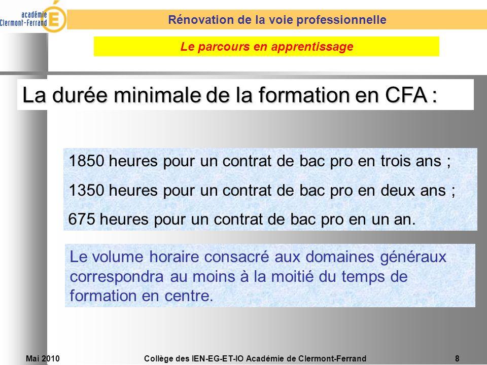 La durée minimale de la formation en CFA :