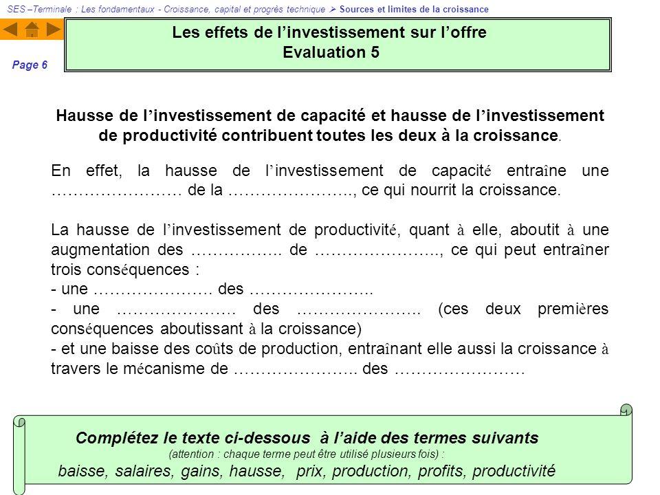 Les effets de l'investissement sur l'offre Evaluation 5