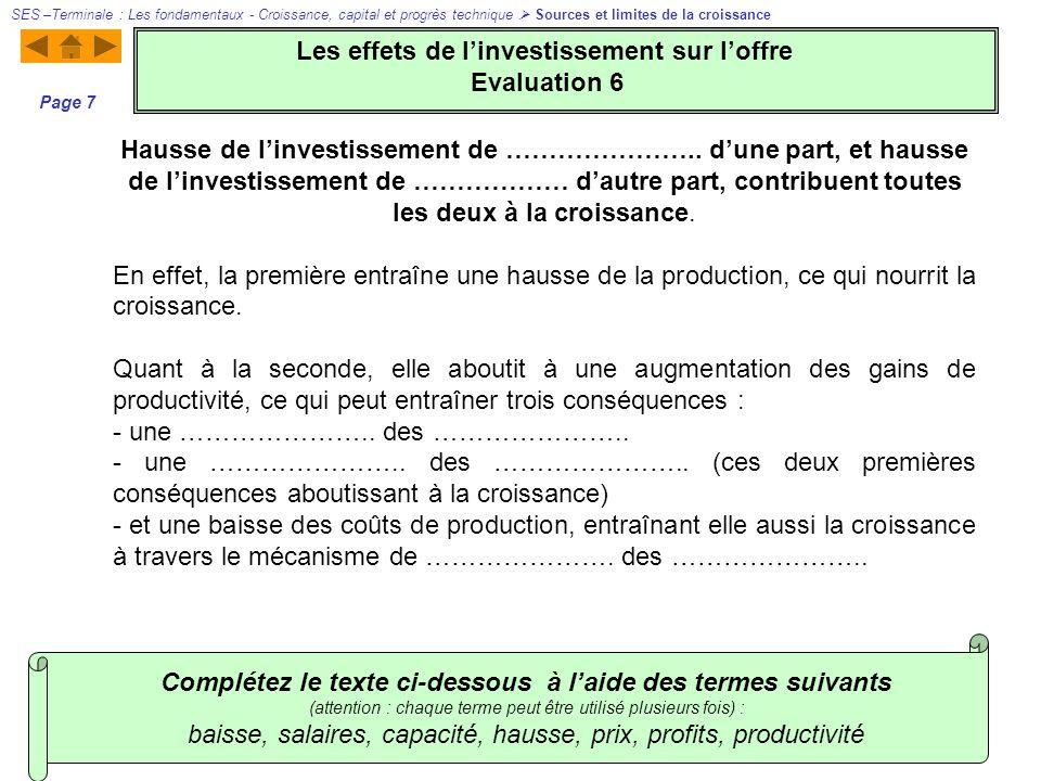Les effets de l'investissement sur l'offre Evaluation 6