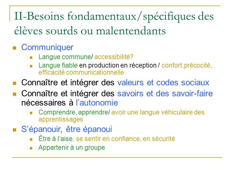 II-Besoins fondamentaux/spécifiques des élèves sourds ou malentendants