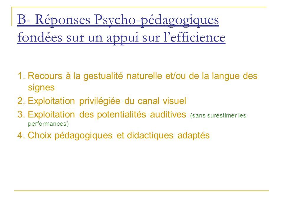 B- Réponses Psycho-pédagogiques fondées sur un appui sur l'efficience