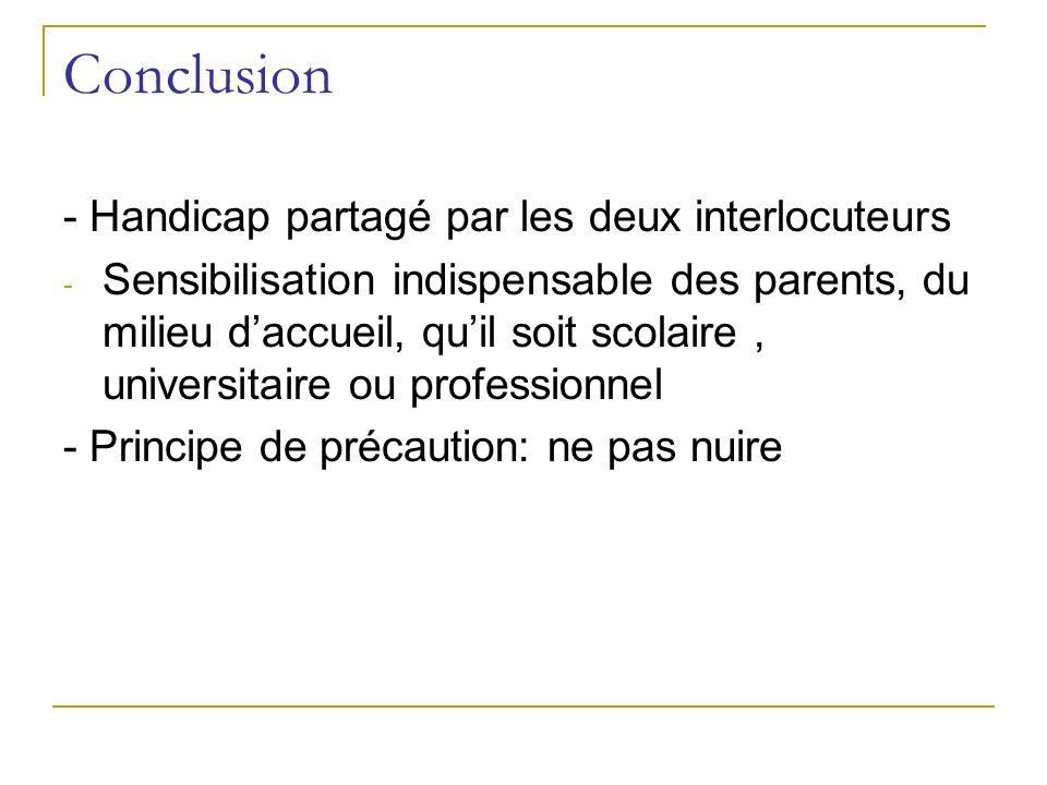 Conclusion - Handicap partagé par les deux interlocuteurs