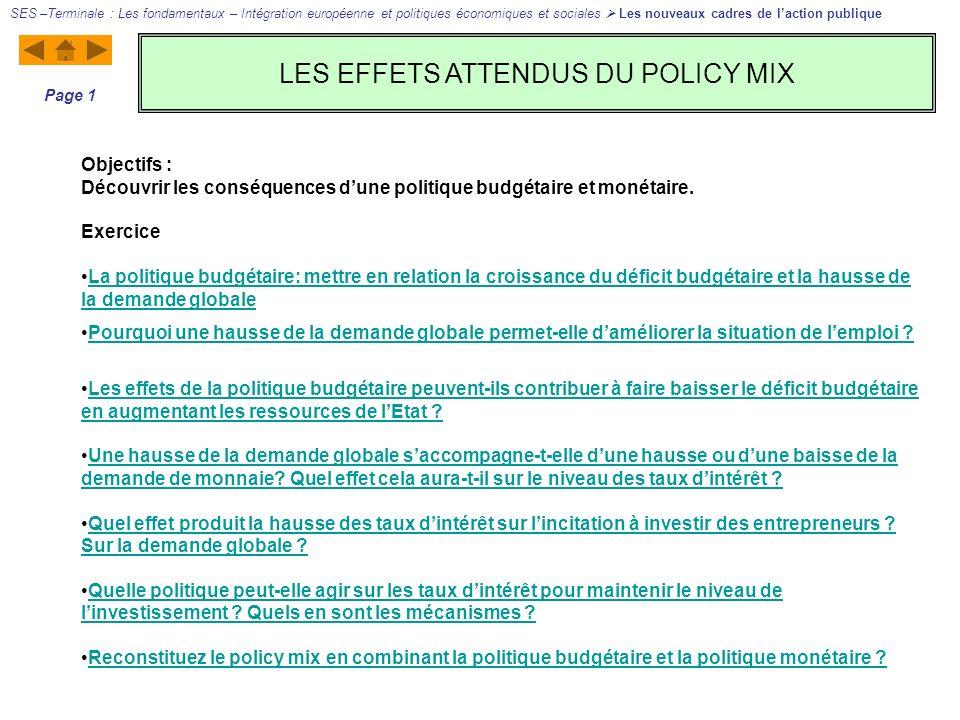 LES EFFETS ATTENDUS DU POLICY MIX