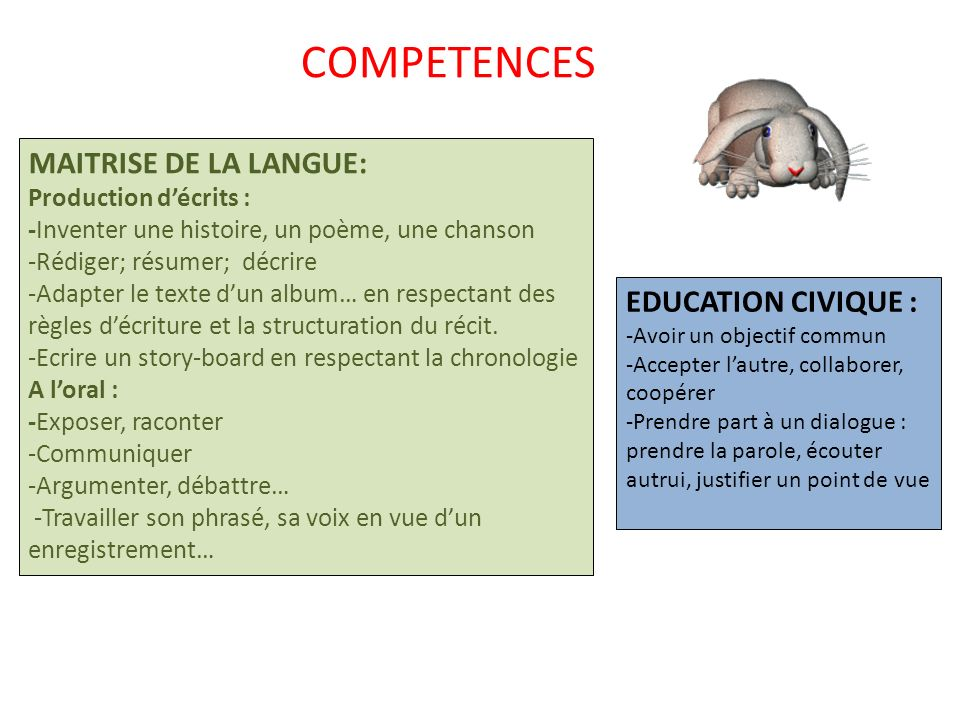 COMPETENCES MAITRISE DE LA LANGUE: EDUCATION CIVIQUE :