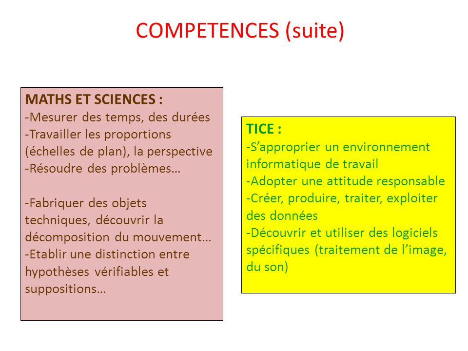 COMPETENCES (suite) MATHS ET SCIENCES : TICE :