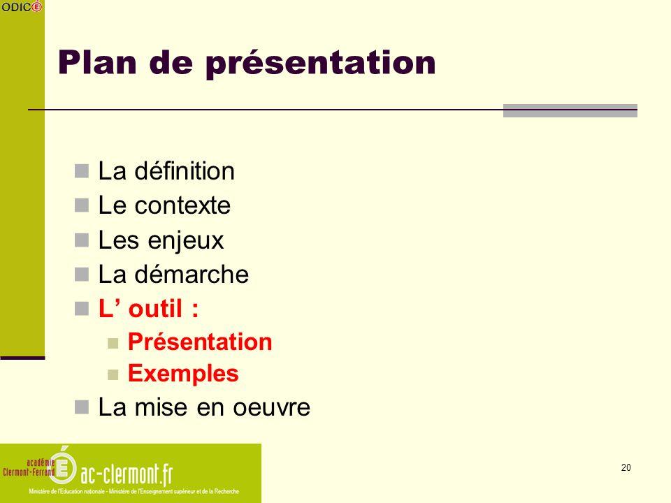 Plan de présentation La définition Le contexte Les enjeux La démarche