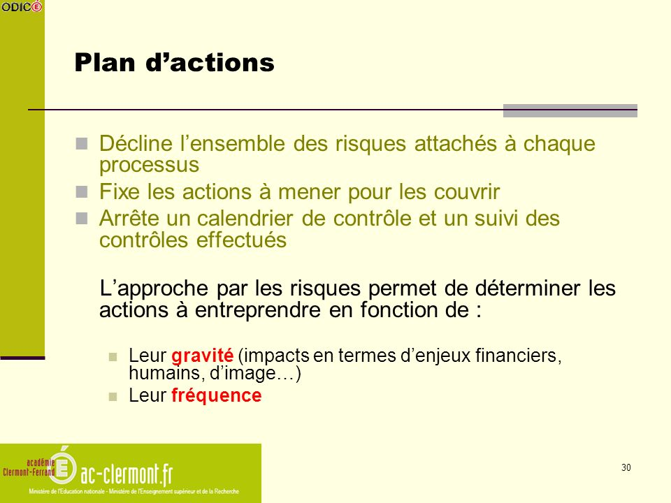 Plan d'actions Décline l'ensemble des risques attachés à chaque processus. Fixe les actions à mener pour les couvrir.