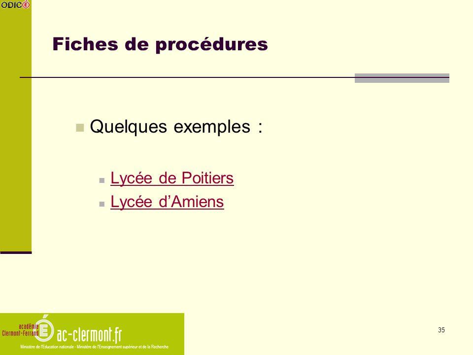 Fiches de procédures Quelques exemples : Lycée de Poitiers