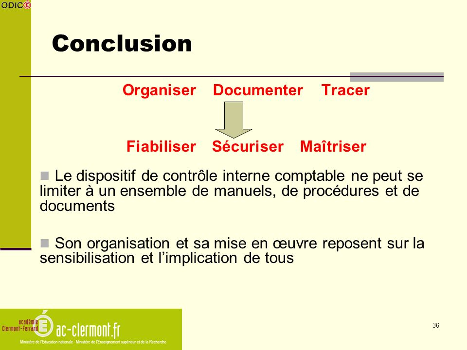 Conclusion Organiser Documenter Tracer Fiabiliser Sécuriser Maîtriser