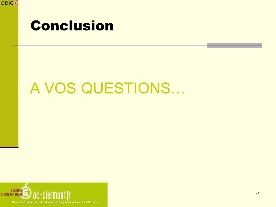 Conclusion A VOS QUESTIONS…