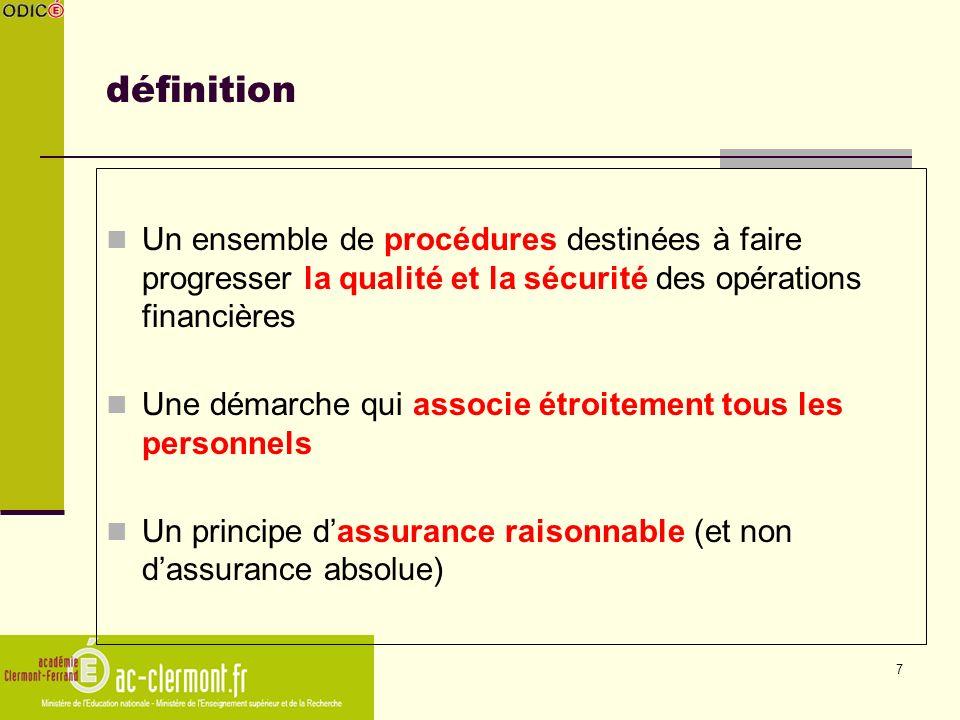 définition Un ensemble de procédures destinées à faire progresser la qualité et la sécurité des opérations financières.