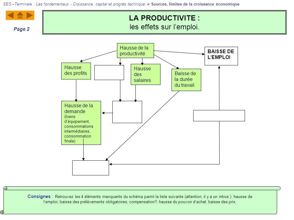 LA PRODUCTIVITE : les effets sur l'emploi.
