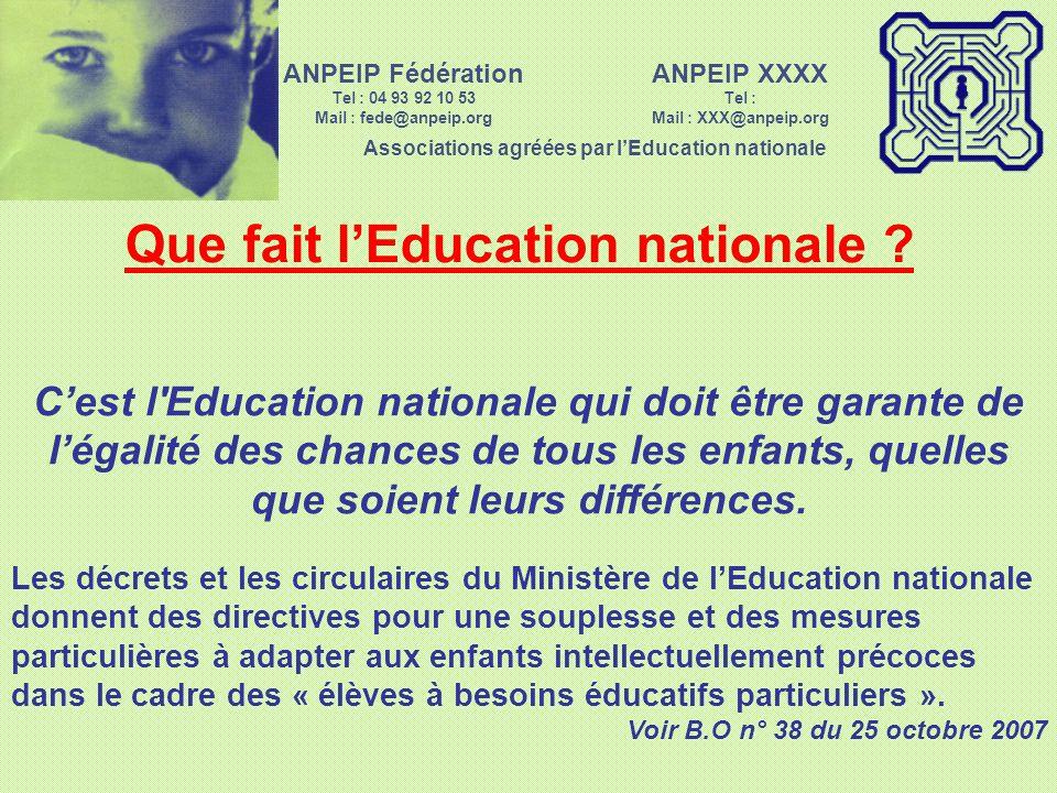 Que fait l'Education nationale
