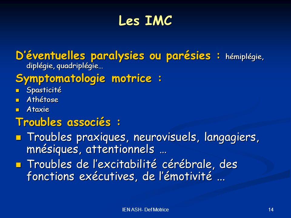 Les IMC D'éventuelles paralysies ou parésies : hémiplégie, diplégie, quadriplégie… Symptomatologie motrice :