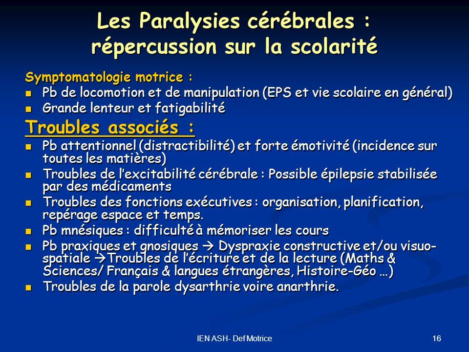 Les Paralysies cérébrales : répercussion sur la scolarité