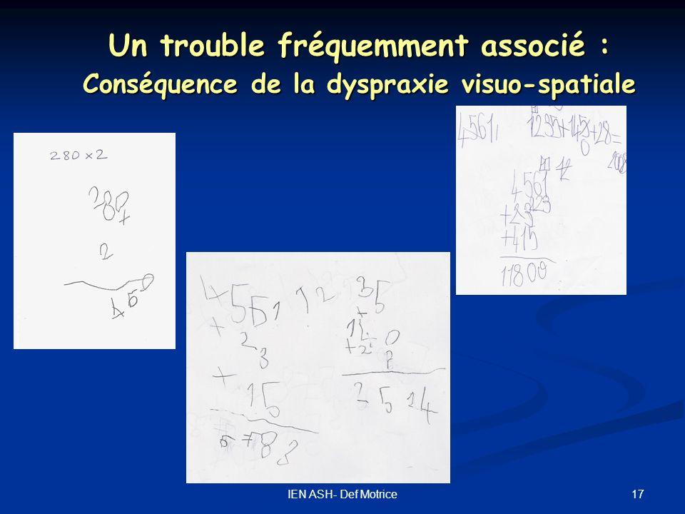 Un trouble fréquemment associé : Conséquence de la dyspraxie visuo-spatiale