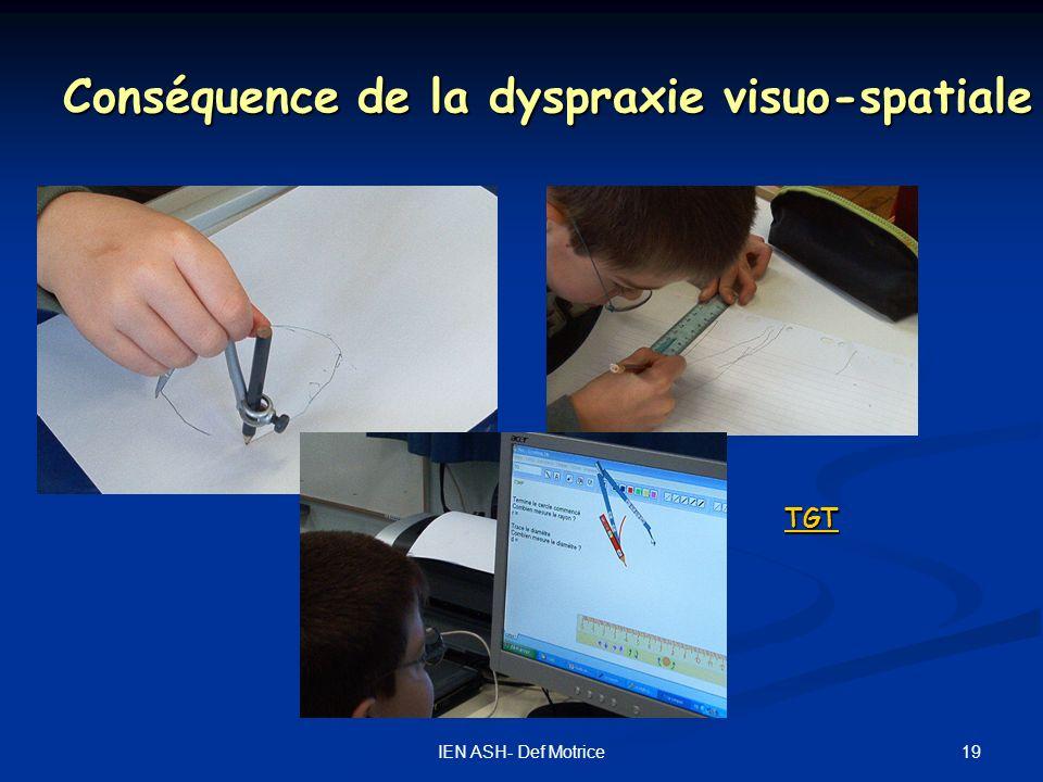 Conséquence de la dyspraxie visuo-spatiale