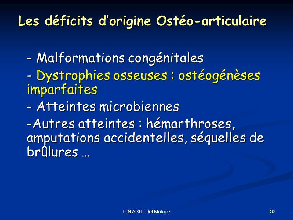 Les déficits d'origine Ostéo-articulaire