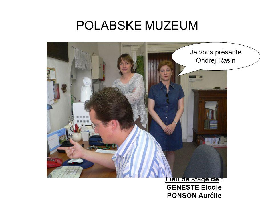 POLABSKE MUZEUM Je vous présente Ondrej Rasin Lieu de stage de :