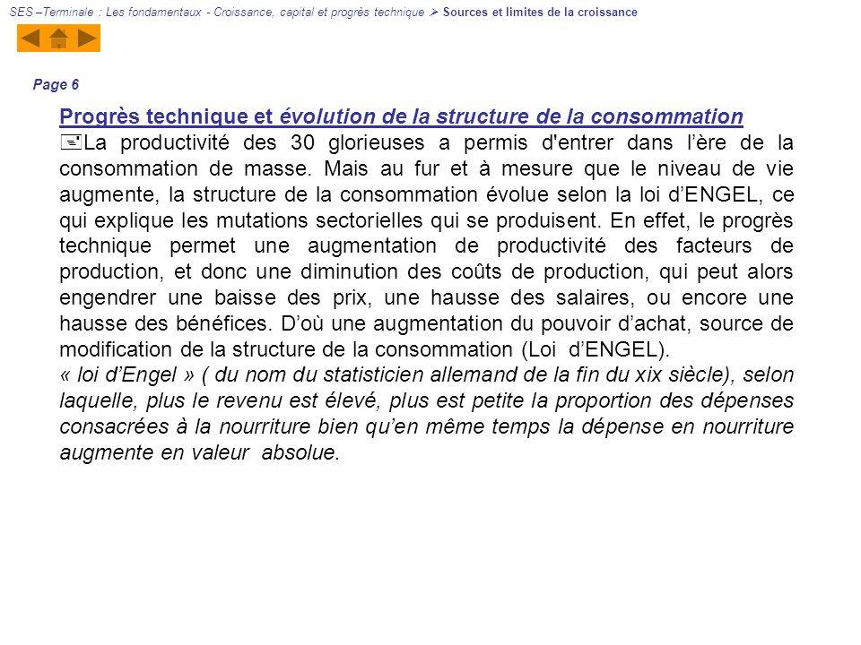 Progrès technique et évolution de la structure de la consommation