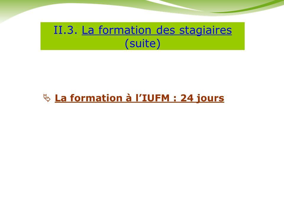 II.3. La formation des stagiaires (suite)