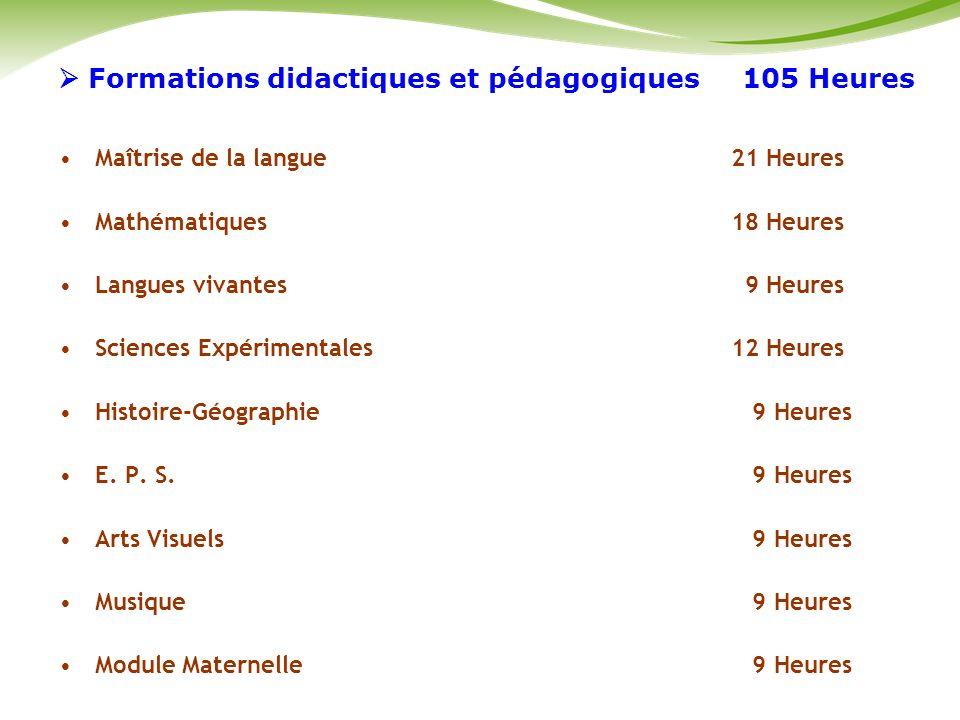  Formations didactiques et pédagogiques 105 Heures
