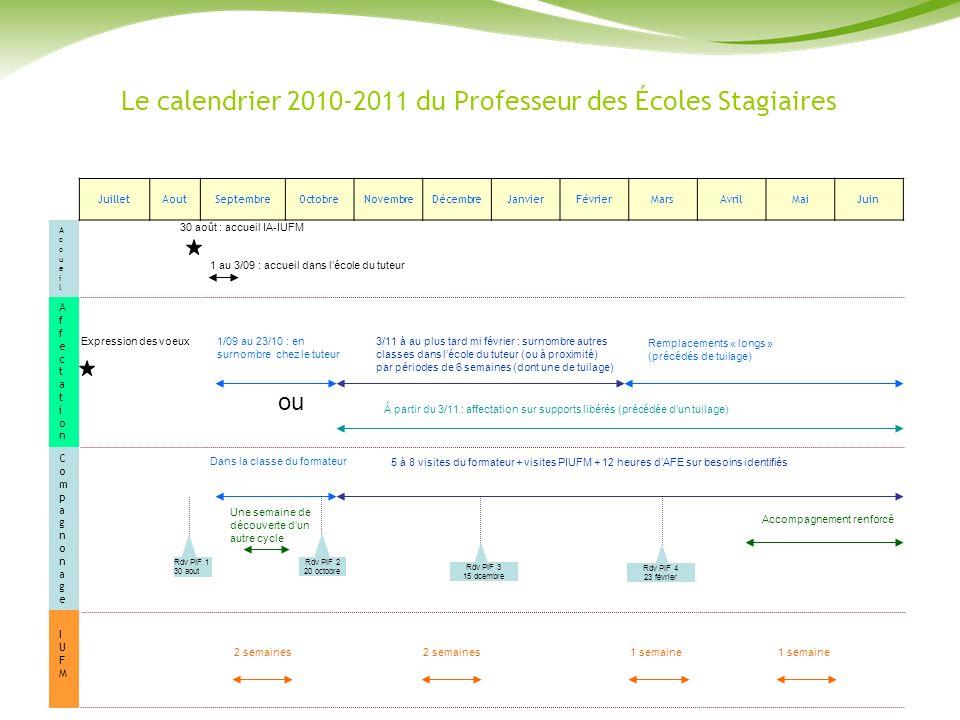 Le calendrier 2010-2011 du Professeur des Écoles Stagiaires