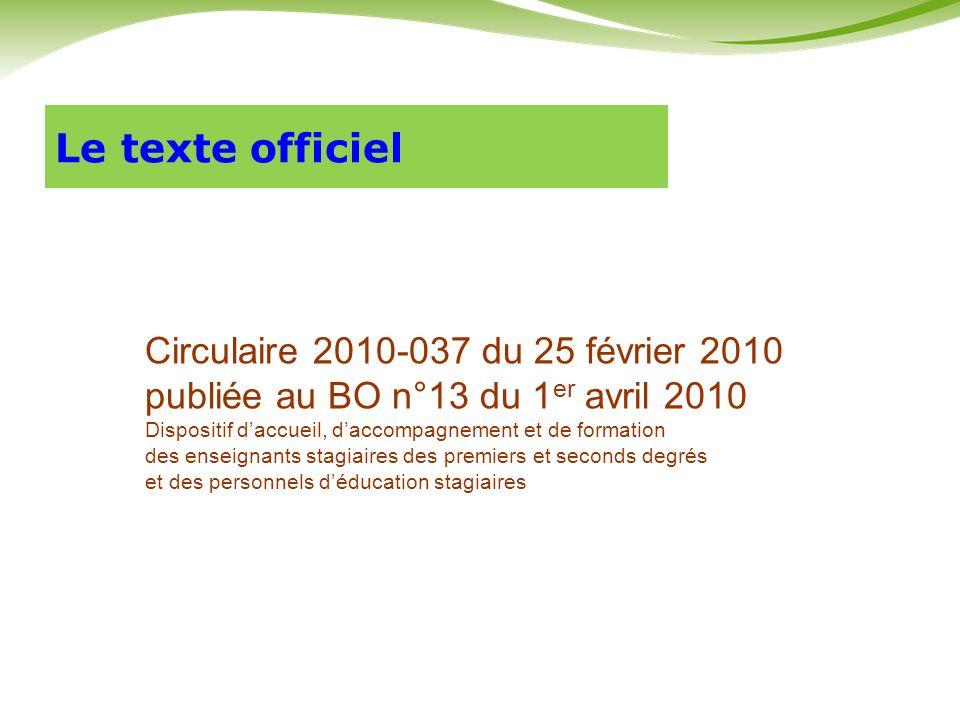 Le texte officiel Circulaire 2010-037 du 25 février 2010