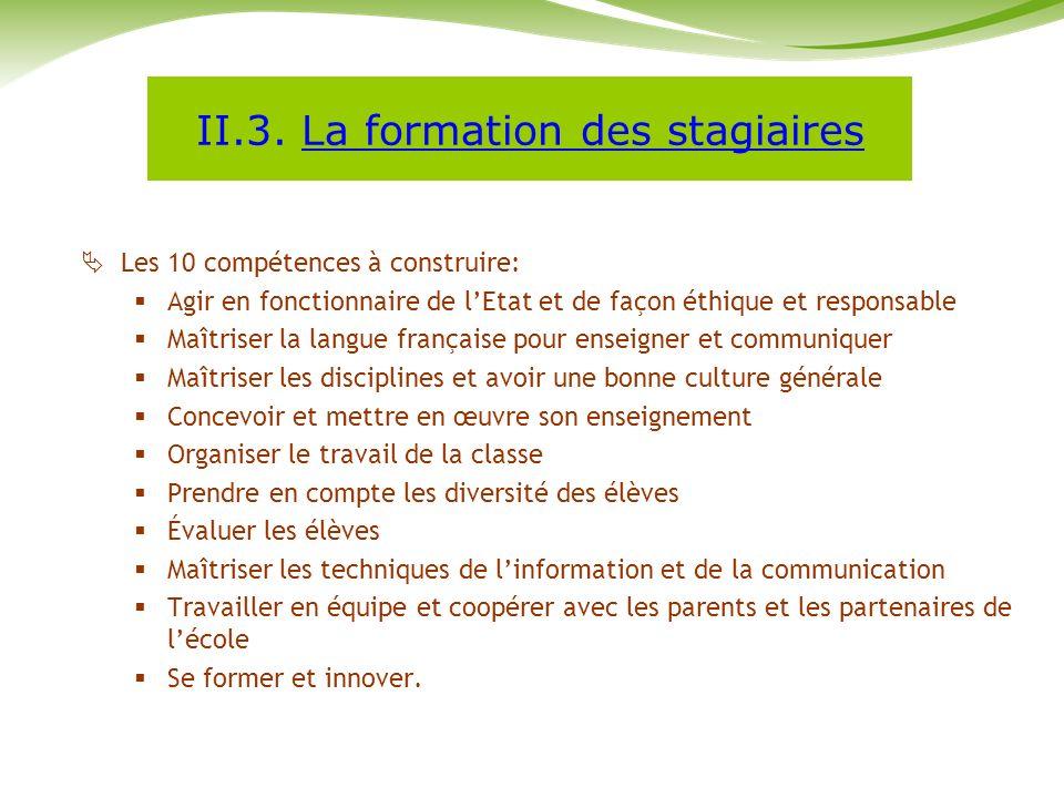 II.3. La formation des stagiaires