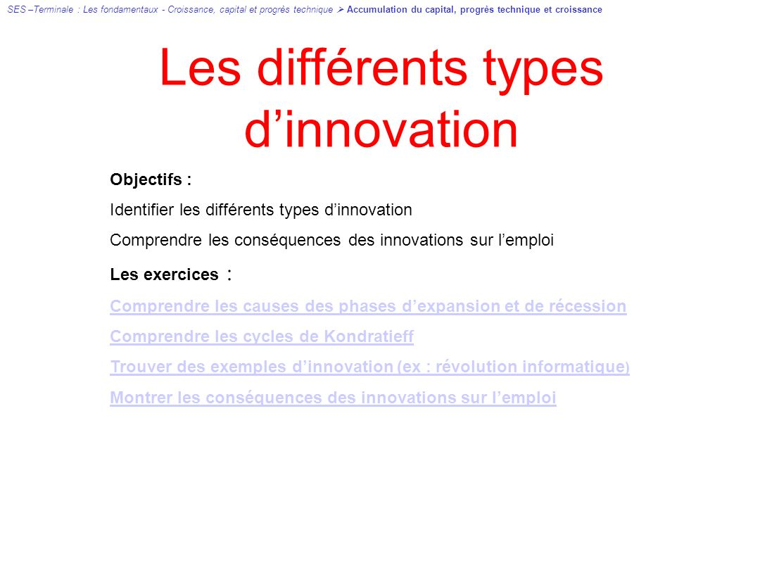 Les différents types d'innovation