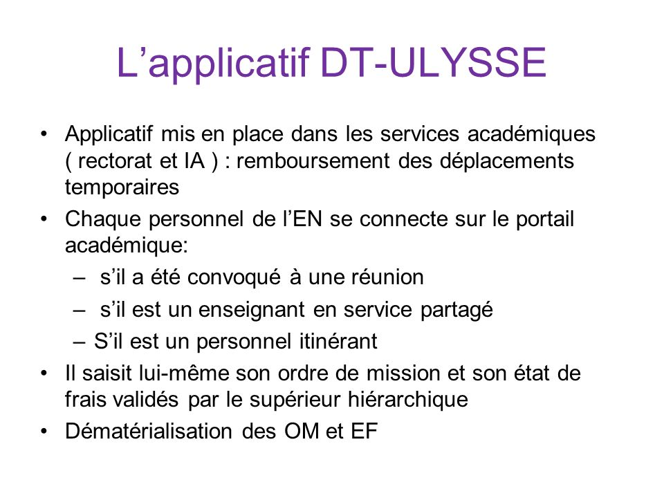 L'applicatif DT-ULYSSE
