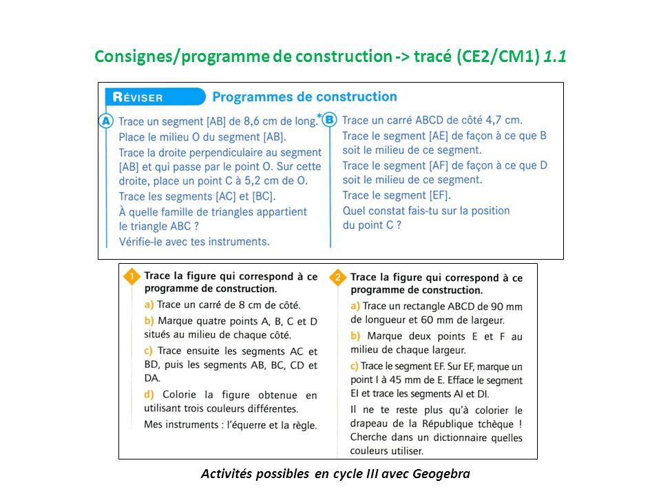Consignes/programme de construction -> tracé (CE2/CM1) 1.1