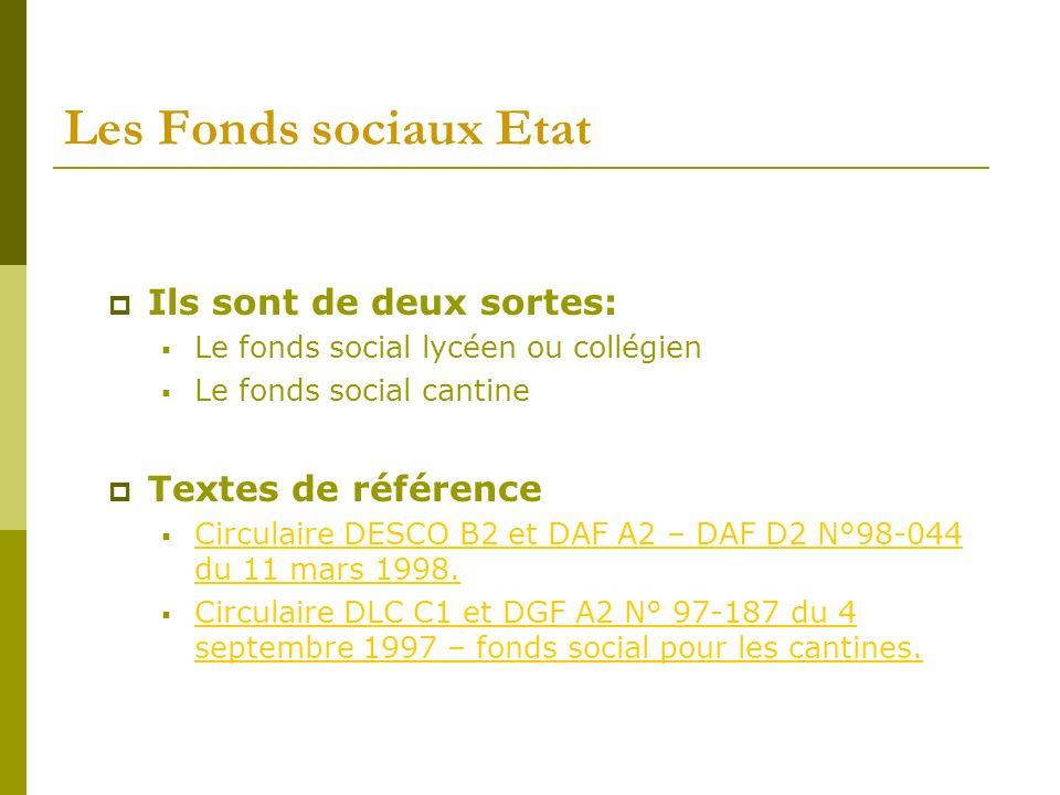 Les Fonds sociaux Etat Ils sont de deux sortes: Textes de référence