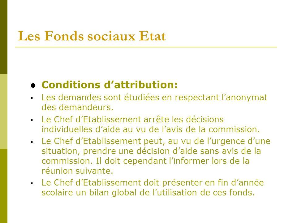 Les Fonds sociaux Etat Conditions d'attribution:
