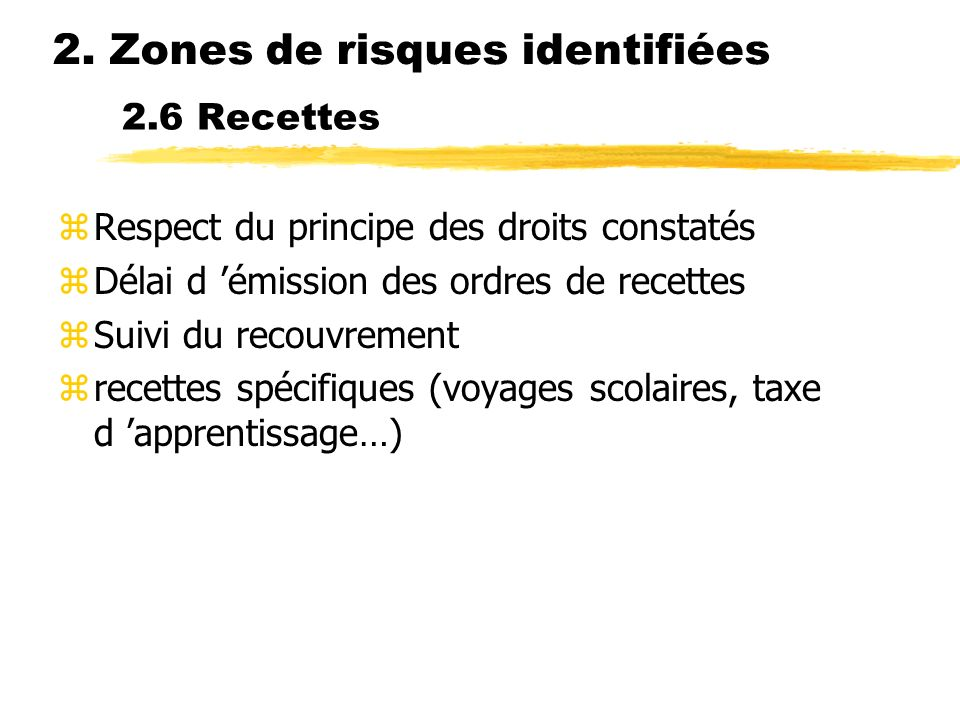 2. Zones de risques identifiées