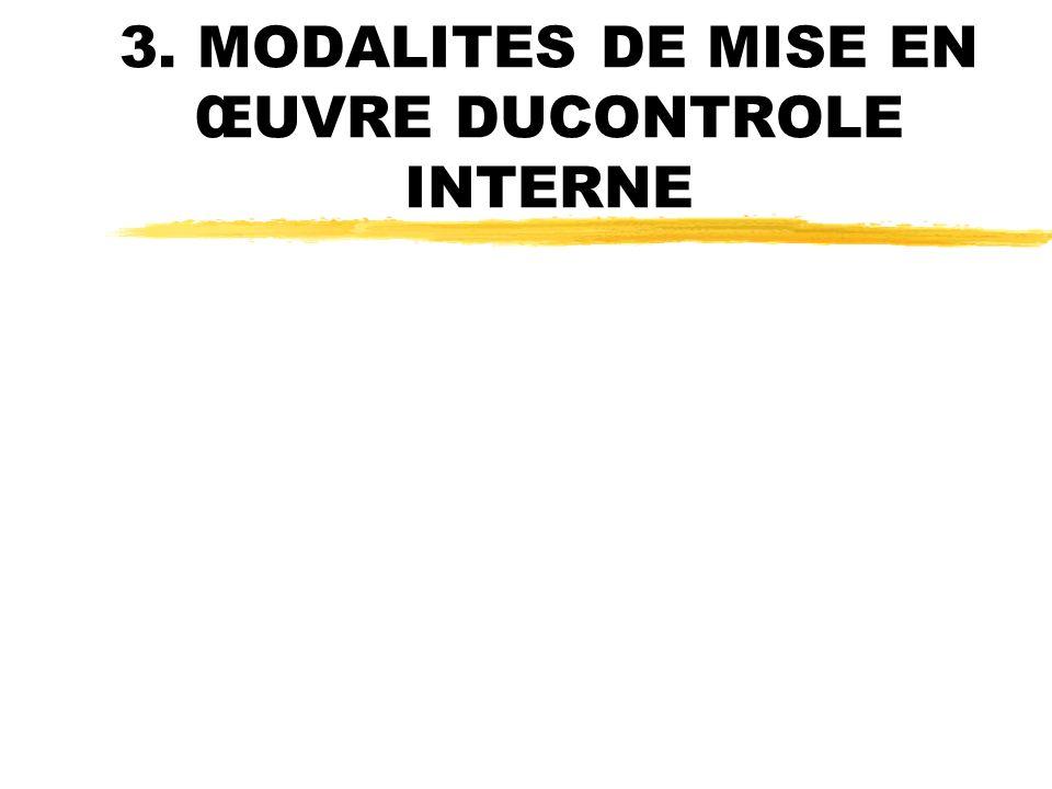 3. MODALITES DE MISE EN ŒUVRE DUCONTROLE INTERNE