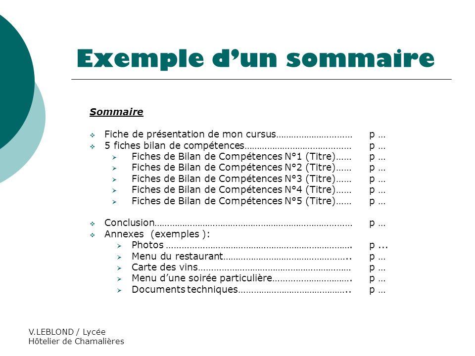 Exemple d'un sommaire Sommaire