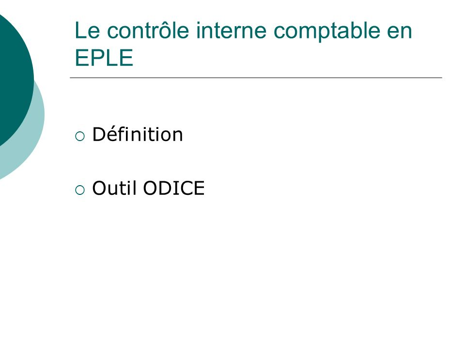 Le contrôle interne comptable en EPLE
