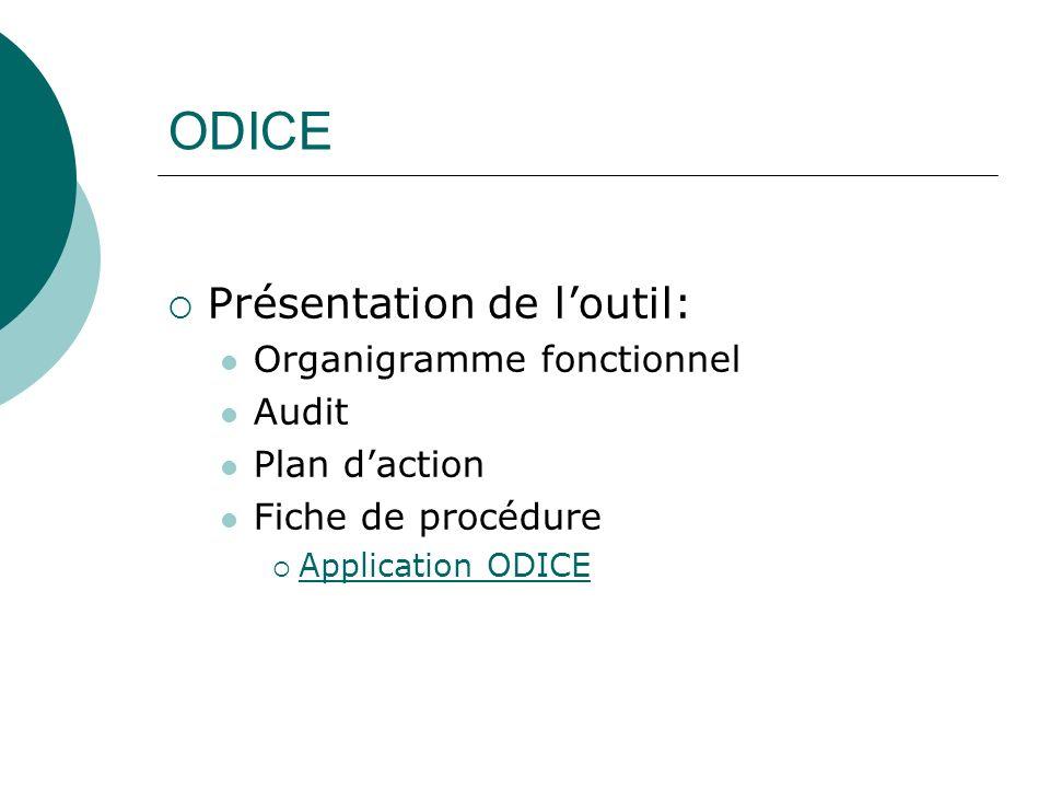 ODICE Présentation de l'outil: Organigramme fonctionnel Audit