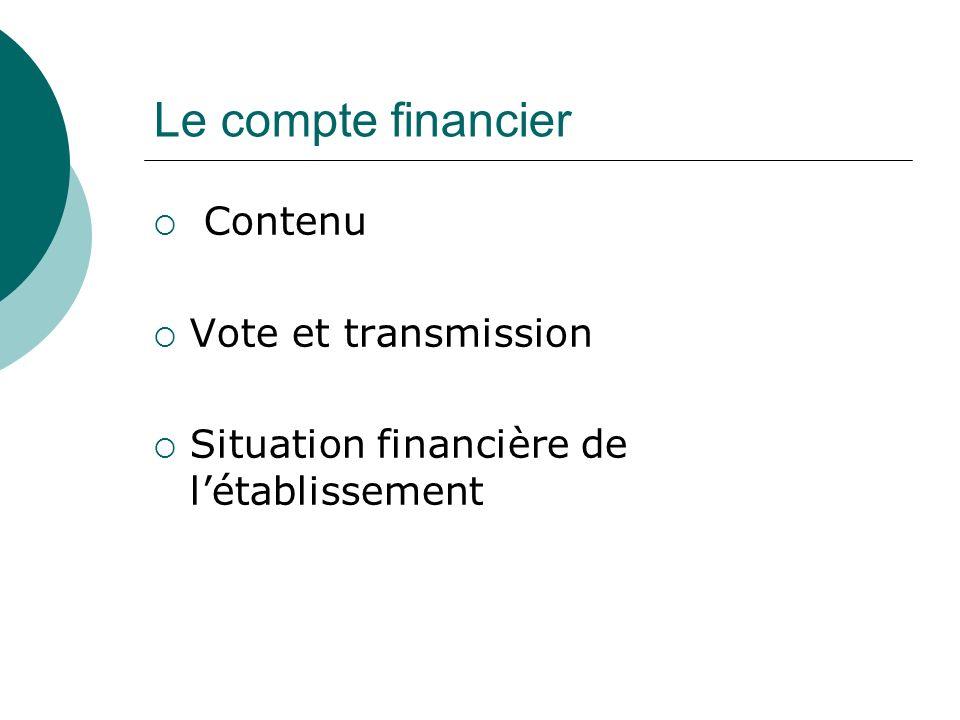 Le compte financier Contenu Vote et transmission