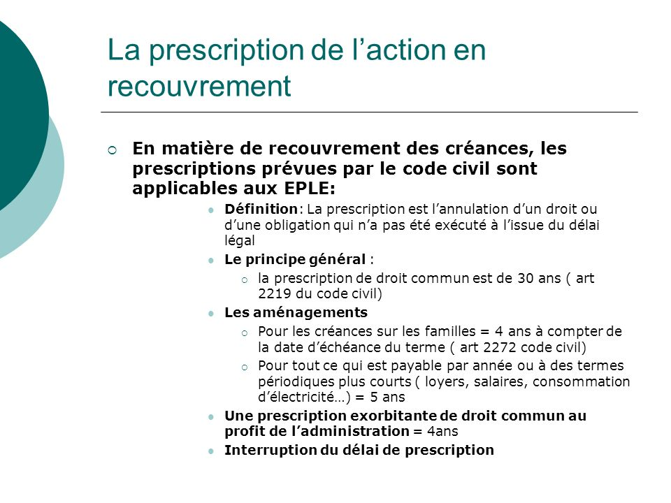 La prescription de l'action en recouvrement