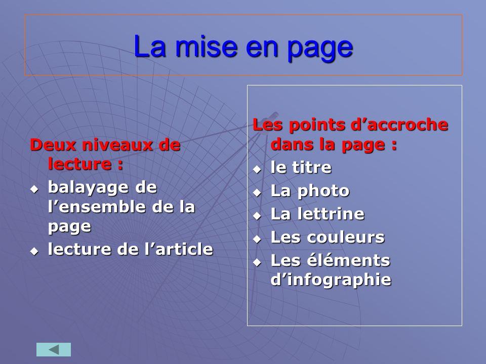 La mise en page Les points d'accroche dans la page :