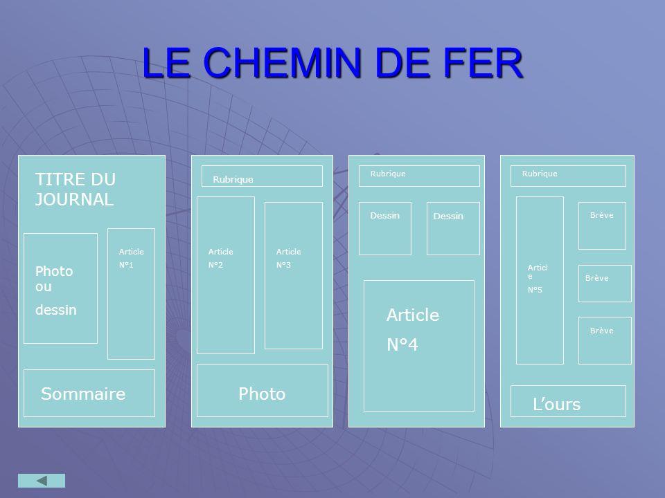 LE CHEMIN DE FER TITRE DU JOURNAL Article N°4 Sommaire Photo L'ours